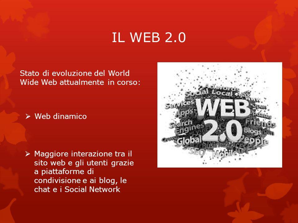 IL WEB 2.0 Stato di evoluzione del World Wide Web attualmente in corso: Web dinamico Maggiore interazione tra il sito web e gli utenti grazie a piatta