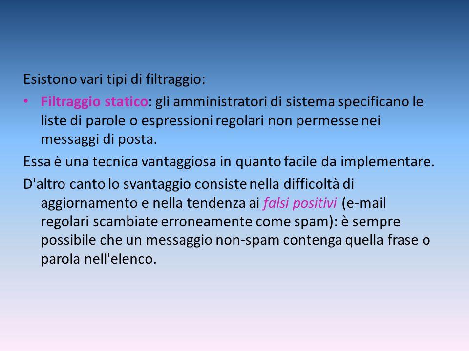 Esistono vari tipi di filtraggio: Filtraggio statico: gli amministratori di sistema specificano le liste di parole o espressioni regolari non permesse