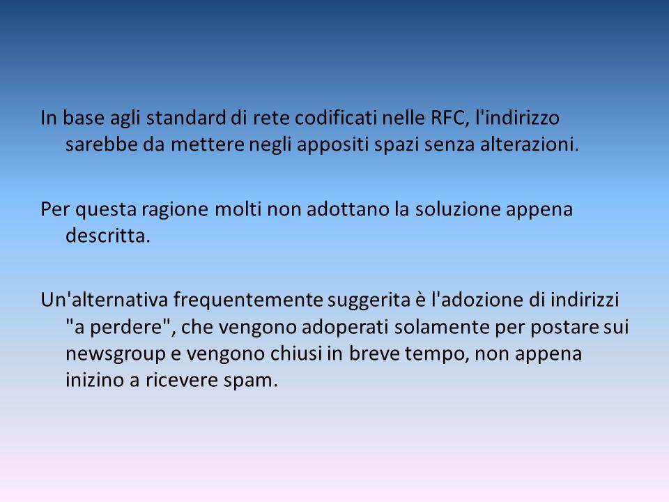 In base agli standard di rete codificati nelle RFC, l'indirizzo sarebbe da mettere negli appositi spazi senza alterazioni. Per questa ragione molti no