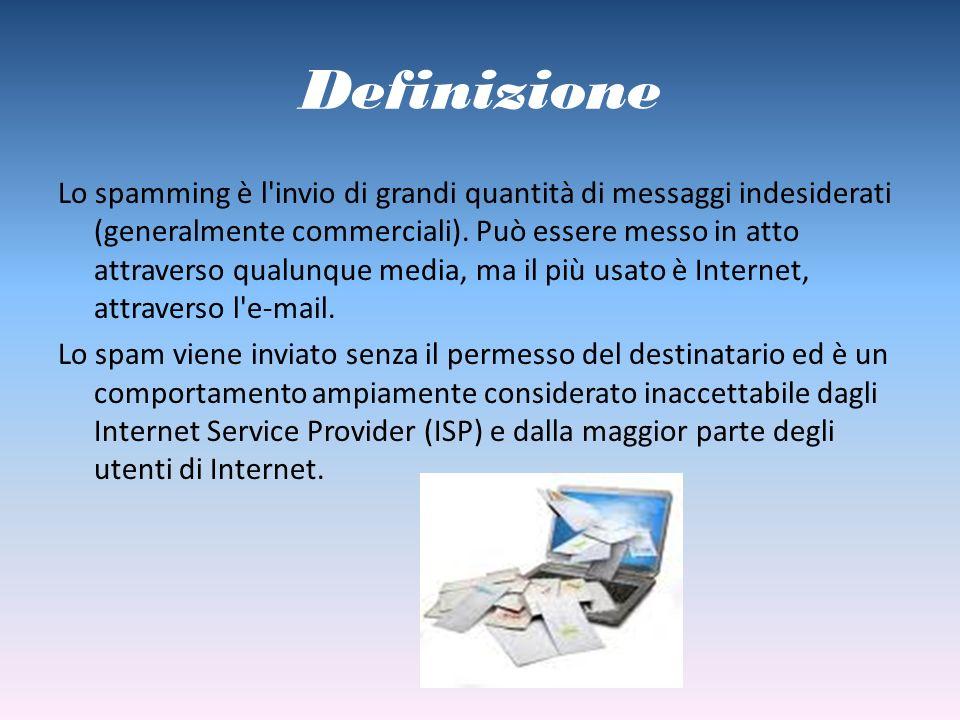 Definizione Lo spamming è l'invio di grandi quantità di messaggi indesiderati (generalmente commerciali). Può essere messo in atto attraverso qualunqu