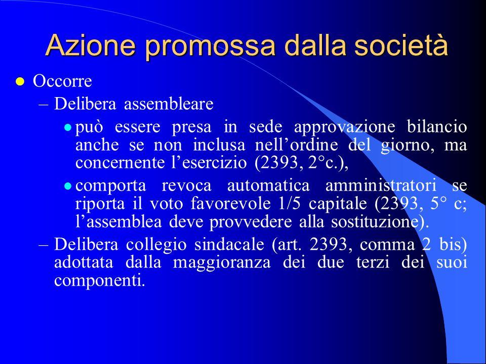 Azione promossa dalla società l Occorre –Delibera assembleare l può essere presa in sede approvazione bilancio anche se non inclusa nellordine del gio