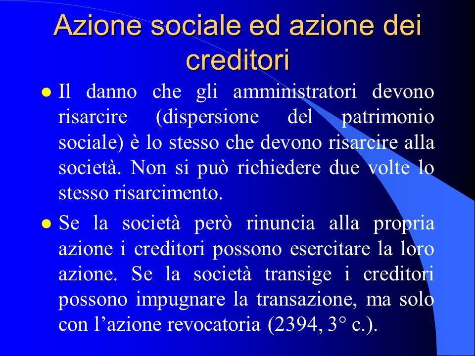 Azione sociale ed azione dei creditori l Il danno che gli amministratori devono risarcire (dispersione del patrimonio sociale) è lo stesso che devono