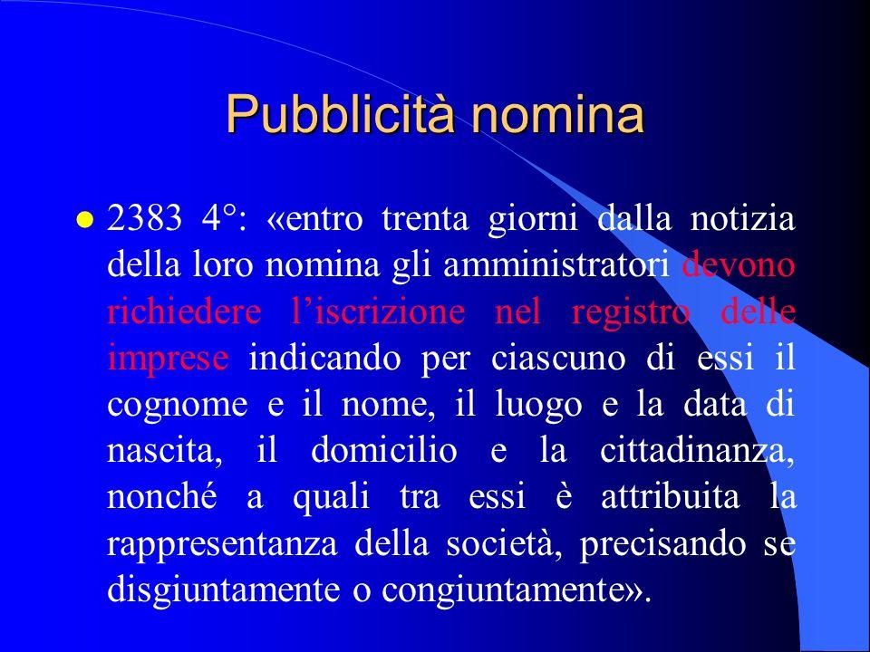 Pubblicità nomina l 2383 4°: «entro trenta giorni dalla notizia della loro nomina gli amministratori devono richiedere liscrizione nel registro delle