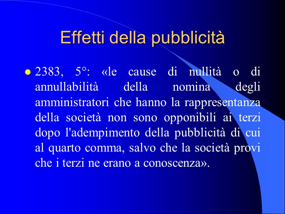 Effetti della pubblicità l 2383, 5°: «le cause di nullità o di annullabilità della nomina degli amministratori che hanno la rappresentanza della socie