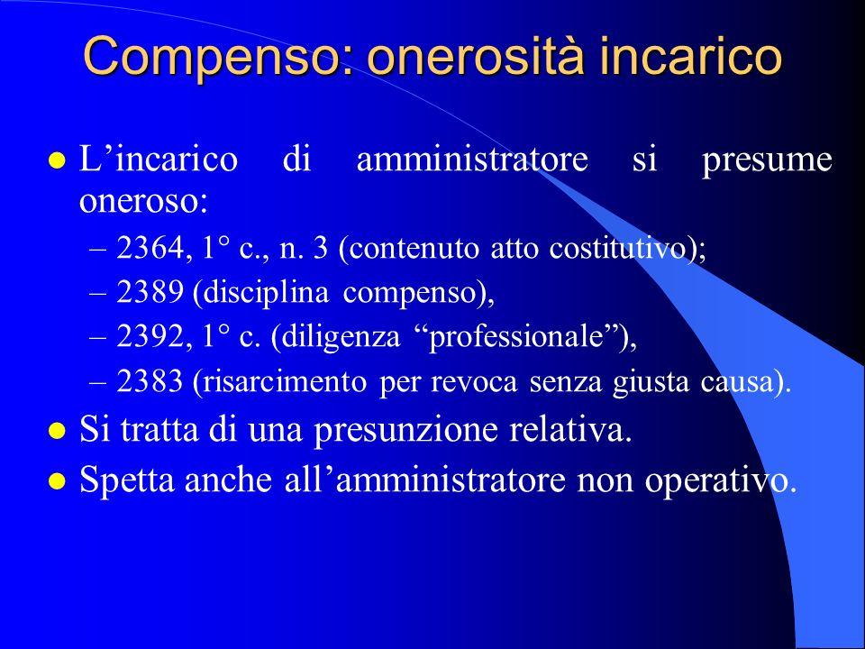 Compenso: onerosità incarico l Lincarico di amministratore si presume oneroso: –2364, 1° c., n. 3 (contenuto atto costitutivo); –2389 (disciplina comp