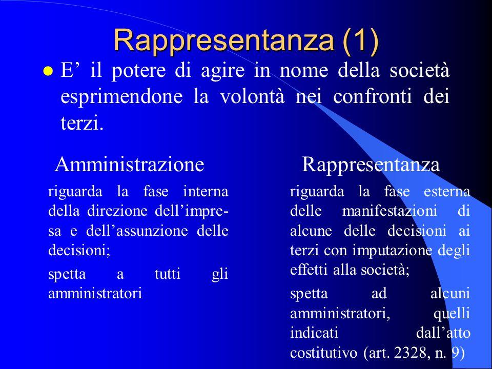 Rappresentanza (1) l E il potere di agire in nome della società esprimendone la volontà nei confronti dei terzi. Amministrazione riguarda la fase inte