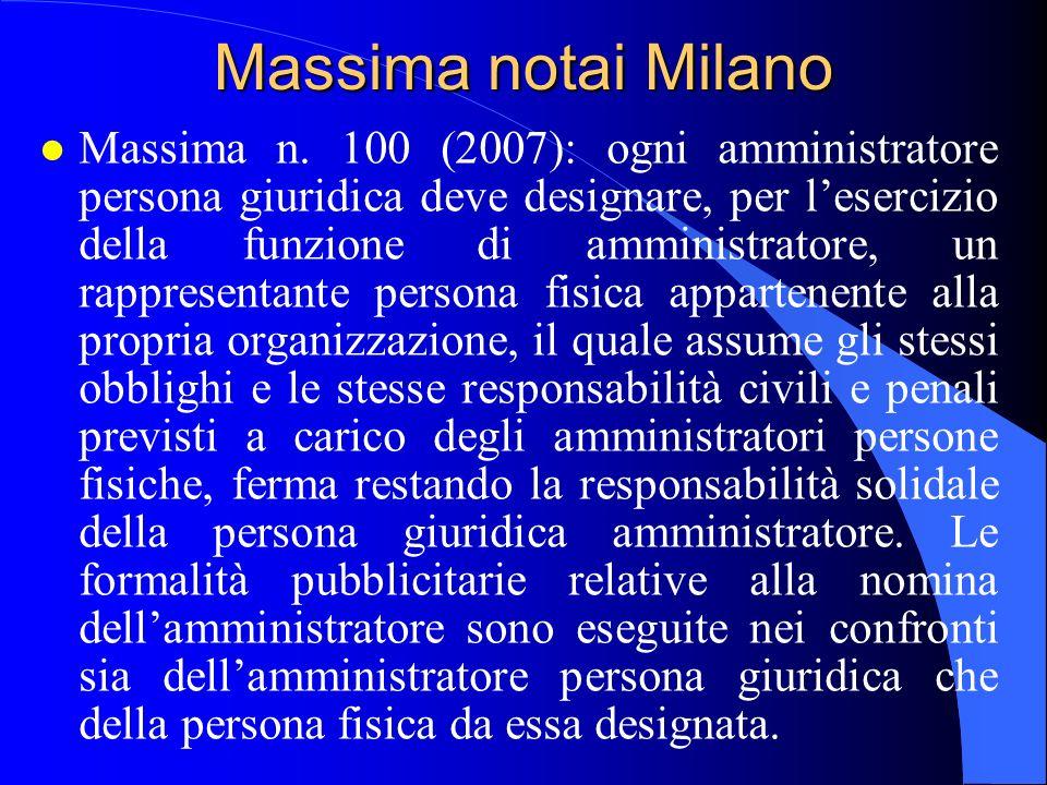 Massima notai Milano l Massima n. 100 (2007): ogni amministratore persona giuridica deve designare, per lesercizio della funzione di amministratore, u