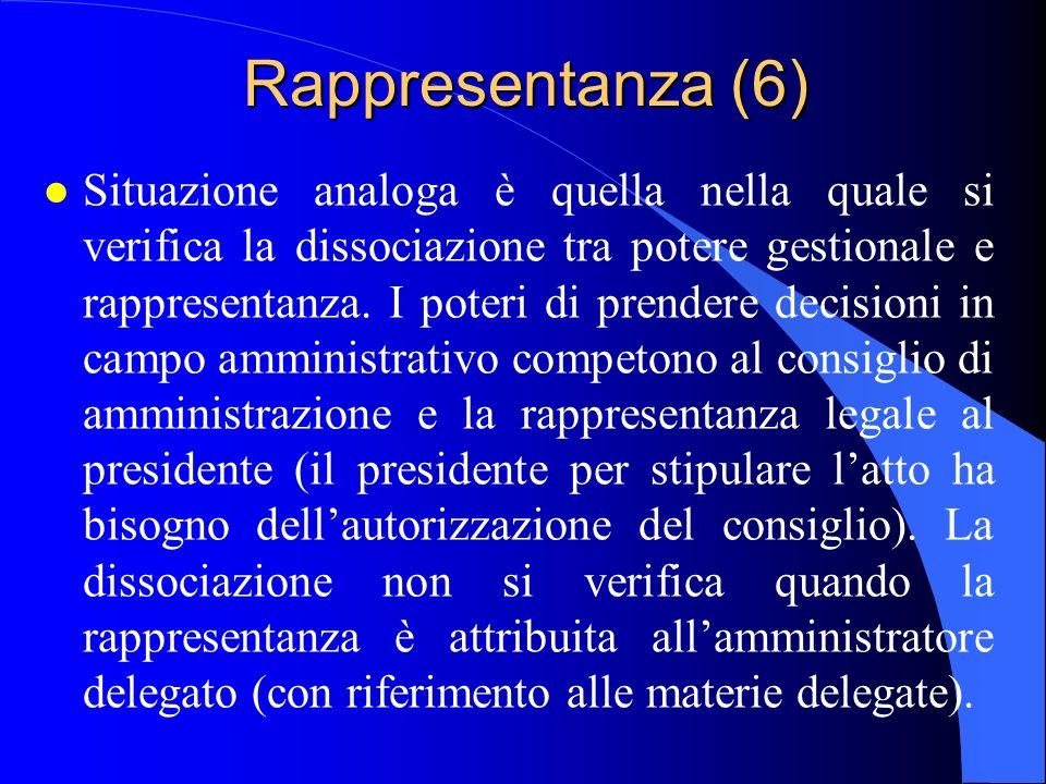 Rappresentanza (6) l Situazione analoga è quella nella quale si verifica la dissociazione tra potere gestionale e rappresentanza. I poteri di prendere
