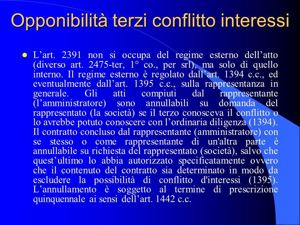 Opponibilità terzi conflitto interessi l Lart. 2391 non si occupa del regime esterno dellatto (diverso art. 2475-ter, 1° co., per srl), ma solo di que