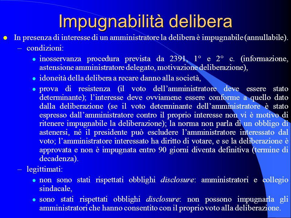 Impugnabilità delibera l In presenza di interesse di un amministratore la delibera è impugnabile (annullabile). –condizioni: l inosservanza procedura