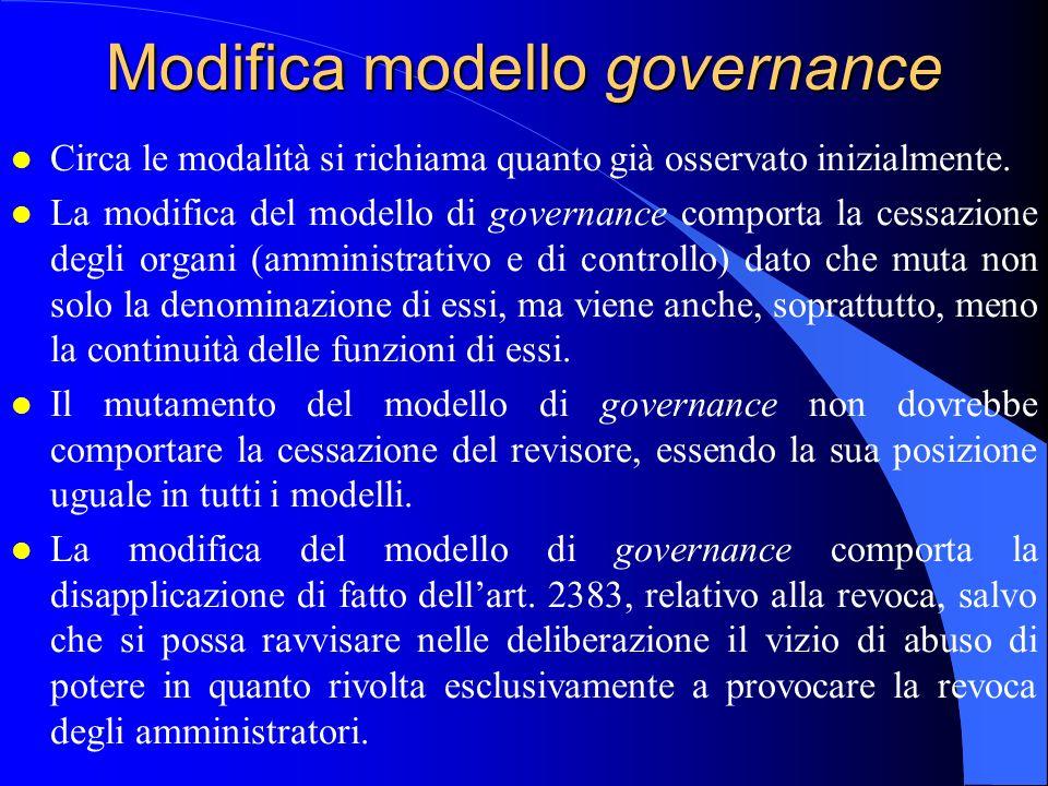 Modifica modello governance l Circa le modalità si richiama quanto già osservato inizialmente. l La modifica del modello di governance comporta la ces
