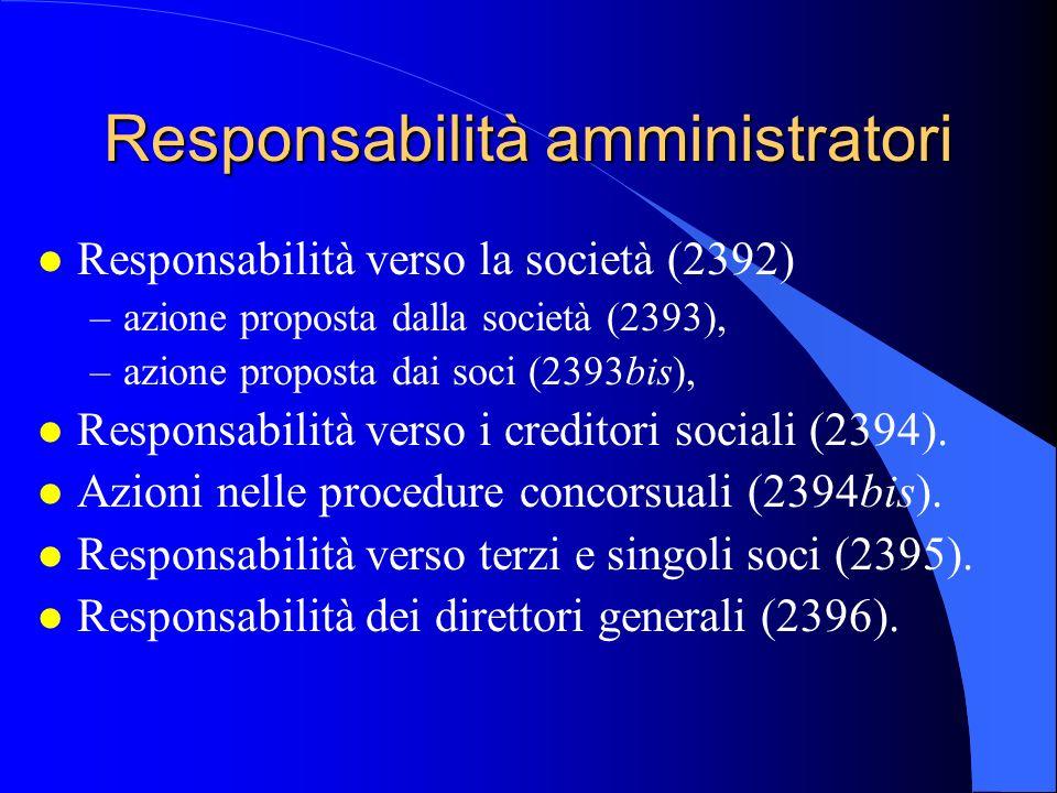 Responsabilità amministratori l Responsabilità verso la società (2392) –azione proposta dalla società (2393), –azione proposta dai soci (2393bis), l R