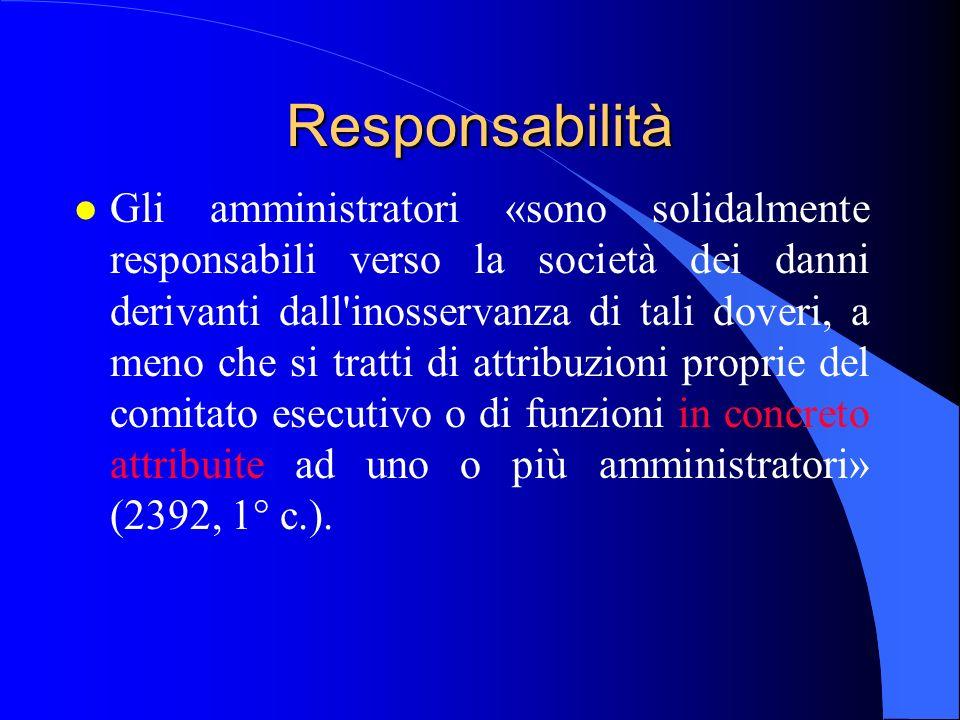 Responsabilità l Gli amministratori «sono solidalmente responsabili verso la società dei danni derivanti dall'inosservanza di tali doveri, a meno che