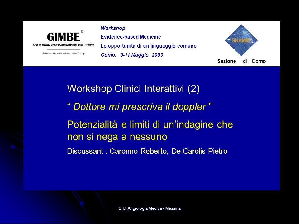 Workshop Evidence-based Medicine Le opportunità di un linguaggio comune Como, 9-11 Maggio 2003 Sezione di Como Workshop Clinici Interattivi (2) Dottor