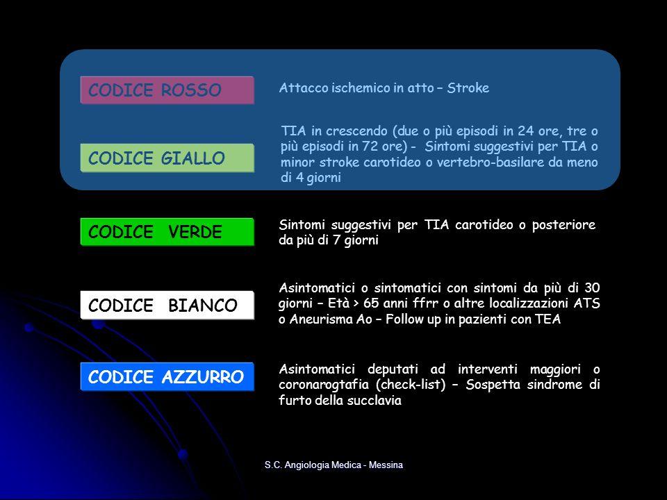 CODICE ROSSO Attacco ischemico in atto – Stroke CODICE VERDE Sintomi suggestivi per TIA carotideo o posteriore da più di 7 giorni CODICE GIALLO TIA in