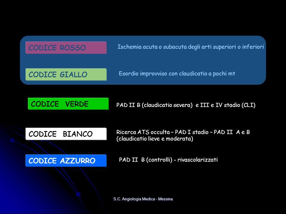 S.C. Angiologia Medica - Messina CODICE ROSSO Ischemia acuta o subacuta degli arti superiori o inferiori CODICE VERDE PAD II B (claudicatio severa) e