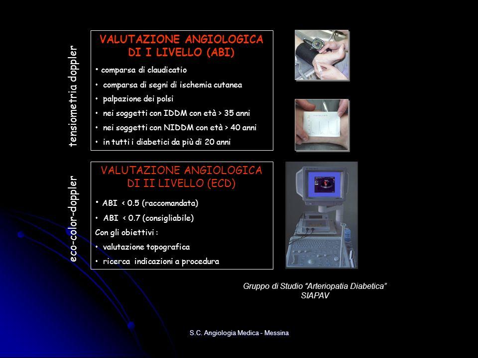 VALUTAZIONE ANGIOLOGICA DI I LIVELLO (ABI) comparsa di claudicatio comparsa di segni di ischemia cutanea palpazione dei polsi nei soggetti con IDDM co