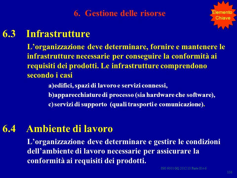 ISO 9001 GQ 2012 13 Parte II 4-6 106 6.3 Infrastrutture Lorganizzazione deve determinare, fornire e mantenere le infrastrutture necessarie per consegu