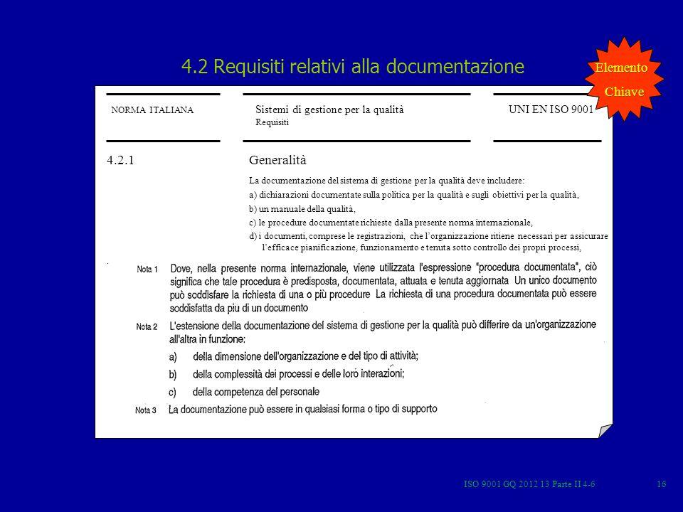 ISO 9001 GQ 2012 13 Parte II 4-616 NORMA ITALIANA Sistemi di gestione per la qualità Requisiti UNI EN ISO 9001 4.2 Requisiti relativi alla documentazi