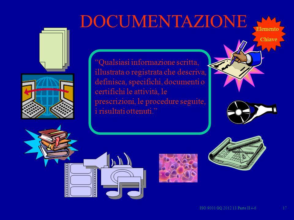 ISO 9001 GQ 2012 13 Parte II 4-617 DOCUMENTAZIONE Qualsiasi informazione scritta, illustrata o registrata che descriva, definisca, specifichi, documen