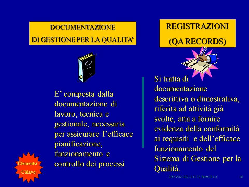 ISO 9001 GQ 2012 13 Parte II 4-618 E composta dalla documentazione di lavoro, tecnica e gestionale, necessaria per assicurare lefficace pianificazione
