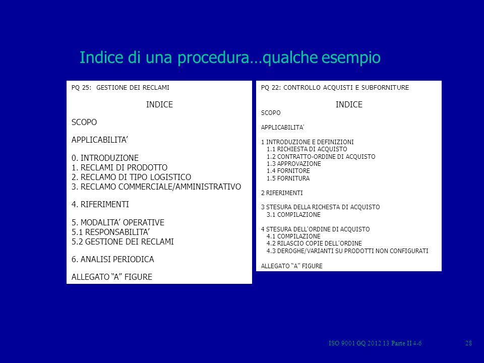 ISO 9001 GQ 2012 13 Parte II 4-628 Indice di una procedura…qualche esempio PQ 25: GESTIONE DEI RECLAMI INDICE SCOPO APPLICABILITA 0. INTRODUZIONE 1. R