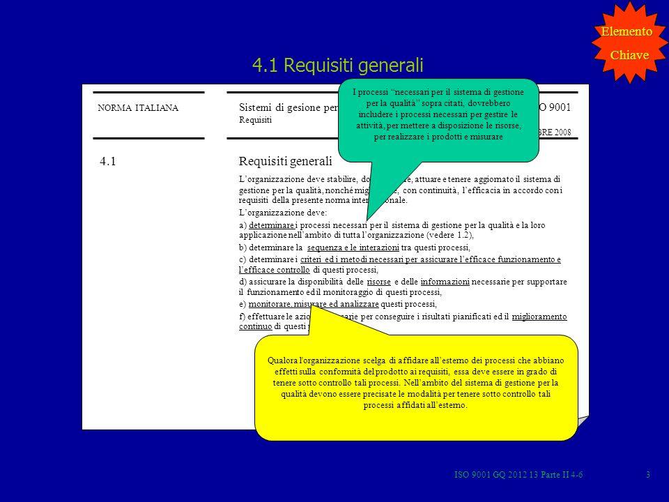 ISO 9001 GQ 2012 13 Parte II 4-654 POLITICA PER LA QUALITA Orientamenti ed indirizzi generali di unorganizzazione, relativi alla qualità, espressi in modo formale dallalta direzione Nota: La politica per la qualità dovrebbe essere coerente con la politica complessiva dellorganizzazione e fornire una struttura essenziale per individuare gli obiettivi per la qualità DEFINIZIONE ISO 9000 Elemento Chiave