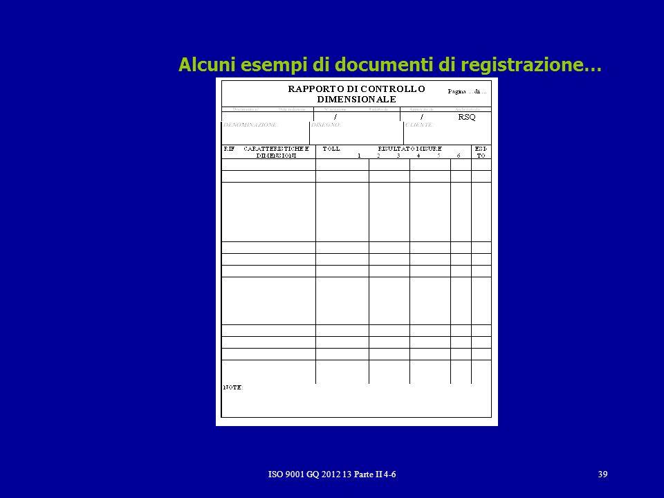 ISO 9001 GQ 2012 13 Parte II 4-639 Alcuni esempi di documenti di registrazione…