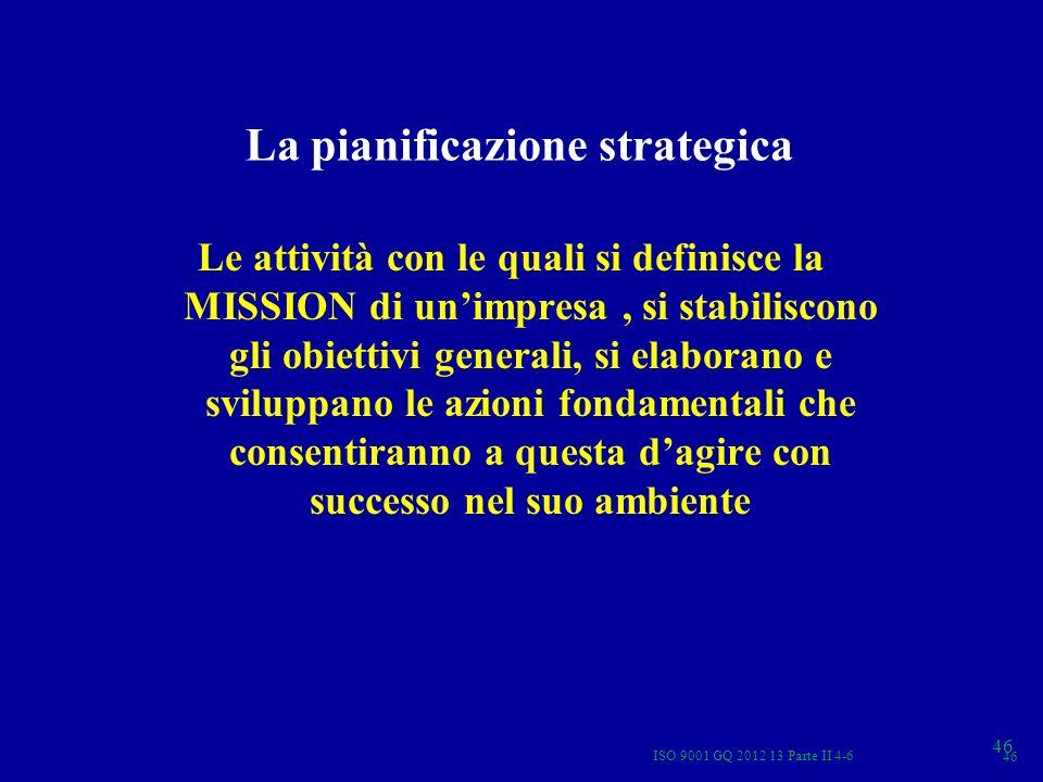 La pianificazione strategica Le attività con le quali si definisce la MISSION di unimpresa, si stabiliscono gli obiettivi generali, si elaborano e svi