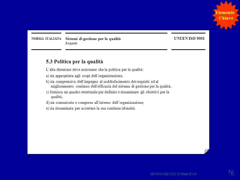 NORMA ITALIANA Sistemi di gestione per la qualità Requisiti UNI EN ISO 9001 5.3 Politica per la qualità Lalta direzione deve assicurare che la politic