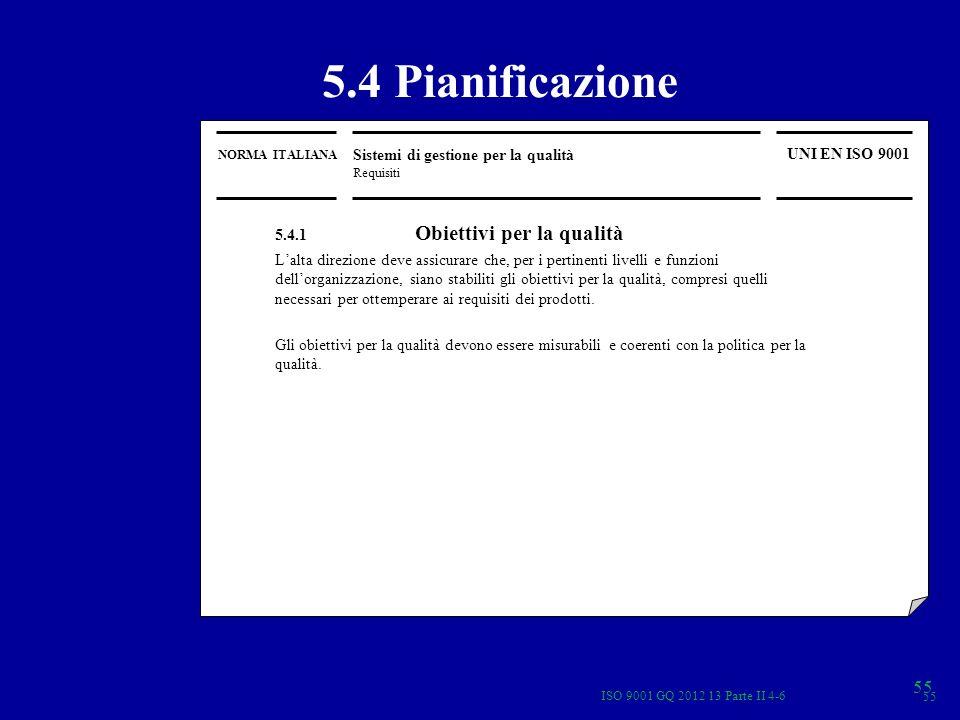 NORMA ITALIANA Sistemi di gestione per la qualità Requisiti UNI EN ISO 9001 5.4 Pianificazione 5.4.1 Obiettivi per la qualità Lalta direzione deve ass