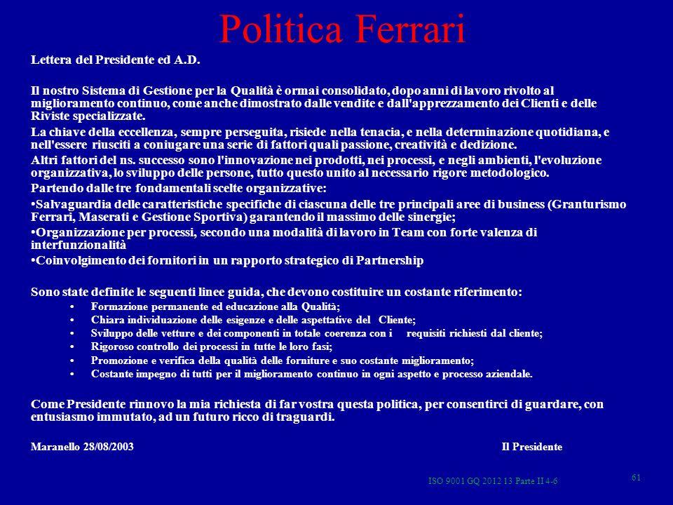 ISO 9001 GQ 2012 13 Parte II 4-6 61 Politica Ferrari Lettera del Presidente ed A.D. Il nostro Sistema di Gestione per la Qualità è ormai consolidato,