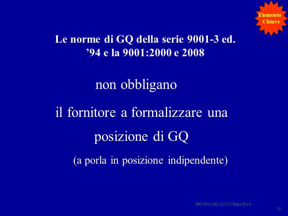 Le norme di GQ della serie 9001-3 ed. 94 e la 9001:2000 e 2008 non obbligano il fornitore a formalizzare una posizione di GQ (a porla in posizione ind