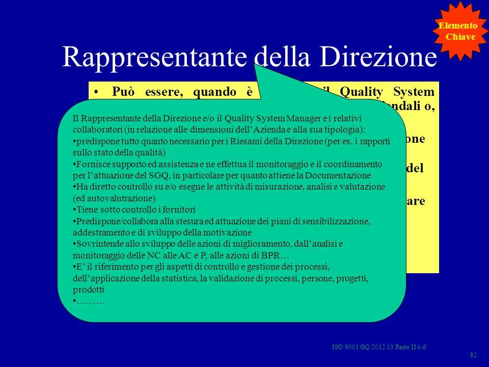 Rappresentante della Direzione Può essere, quando è previsto, il Quality System Manager o il Responsabile di altre funzioni aziendali o, nelle piccole