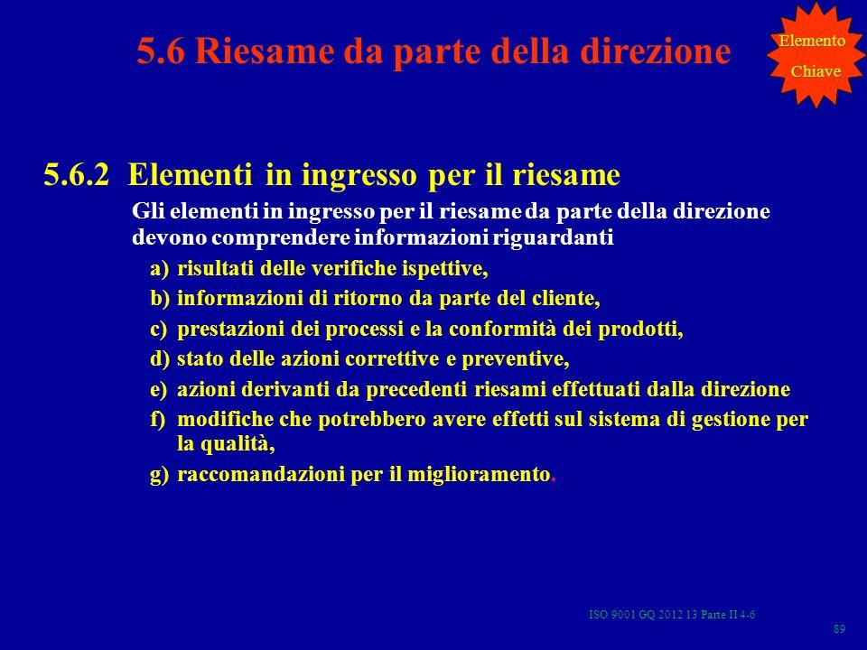 ISO 9001 GQ 2012 13 Parte II 4-6 89 5.6.2 Elementi in ingresso per il riesame Gli elementi in ingresso per il riesame da parte della direzione devono