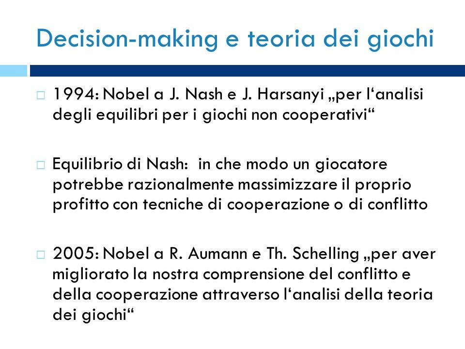 Decision-making e teoria dei giochi 1994: Nobel a J. Nash e J. Harsanyi per lanalisi degli equilibri per i giochi non cooperativi Equilibrio di Nash: