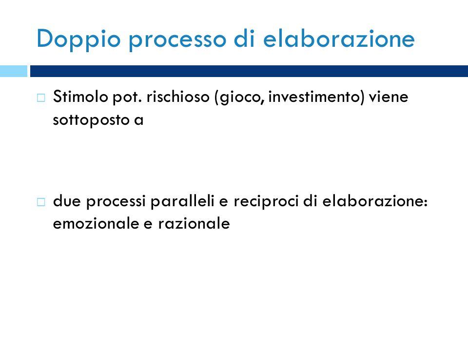 Doppio processo di elaborazione Stimolo pot. rischioso (gioco, investimento) viene sottoposto a due processi paralleli e reciproci di elaborazione: em