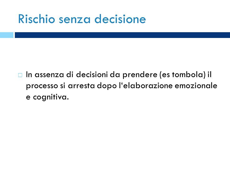 Rischio senza decisione In assenza di decisioni da prendere (es tombola) il processo si arresta dopo lelaborazione emozionale e cognitiva.