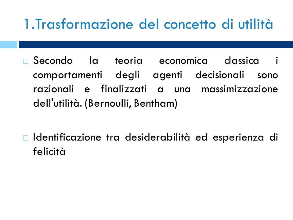 1.Trasformazione del concetto di utilità Secondo la teoria economica classica i comportamenti degli agenti decisionali sono razionali e finalizzati a
