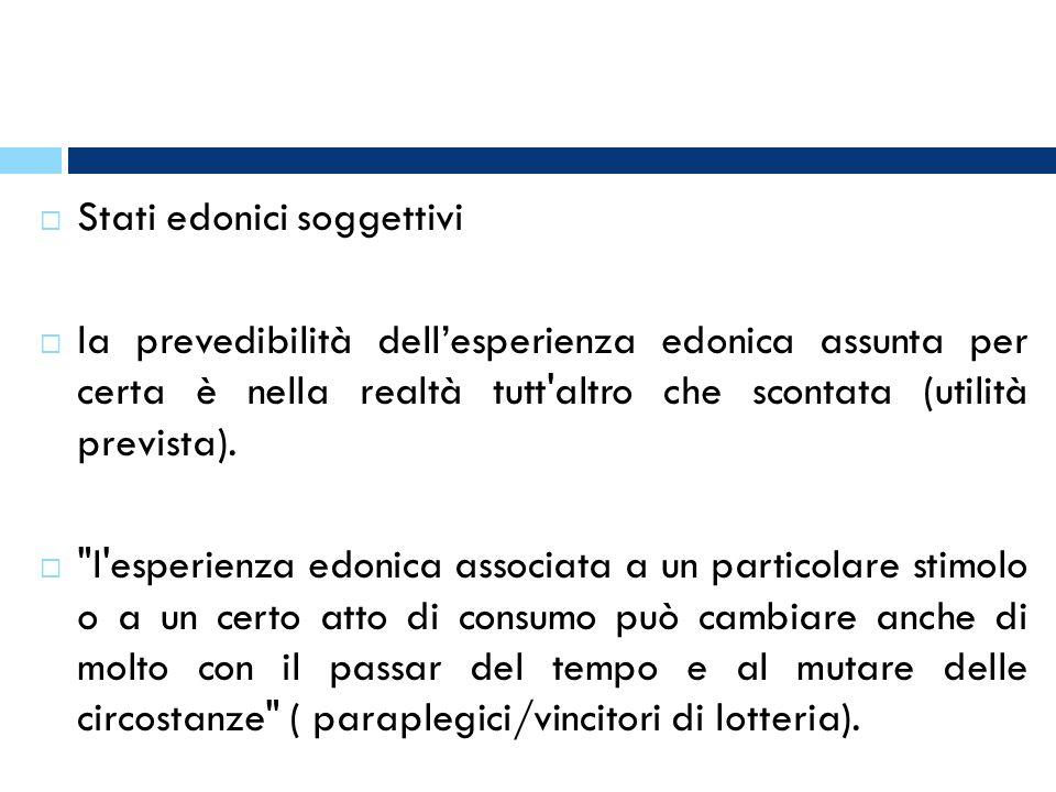 Stati edonici soggettivi la prevedibilità dellesperienza edonica assunta per certa è nella realtà tutt'altro che scontata (utilità prevista).