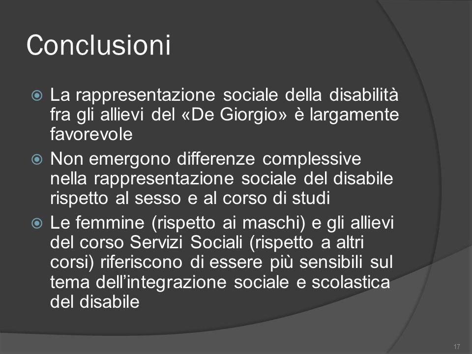 Conclusioni La rappresentazione sociale della disabilità fra gli allievi del «De Giorgio» è largamente favorevole Non emergono differenze complessive