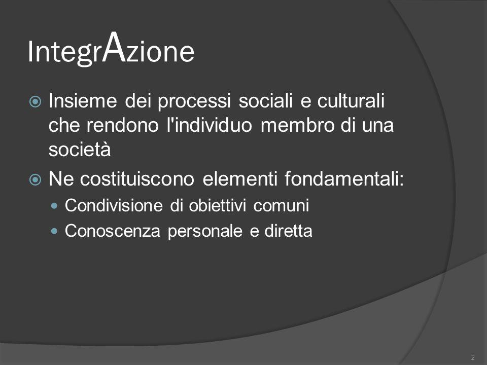 Integr A zione Insieme dei processi sociali e culturali che rendono l'individuo membro di una società Ne costituiscono elementi fondamentali: Condivis