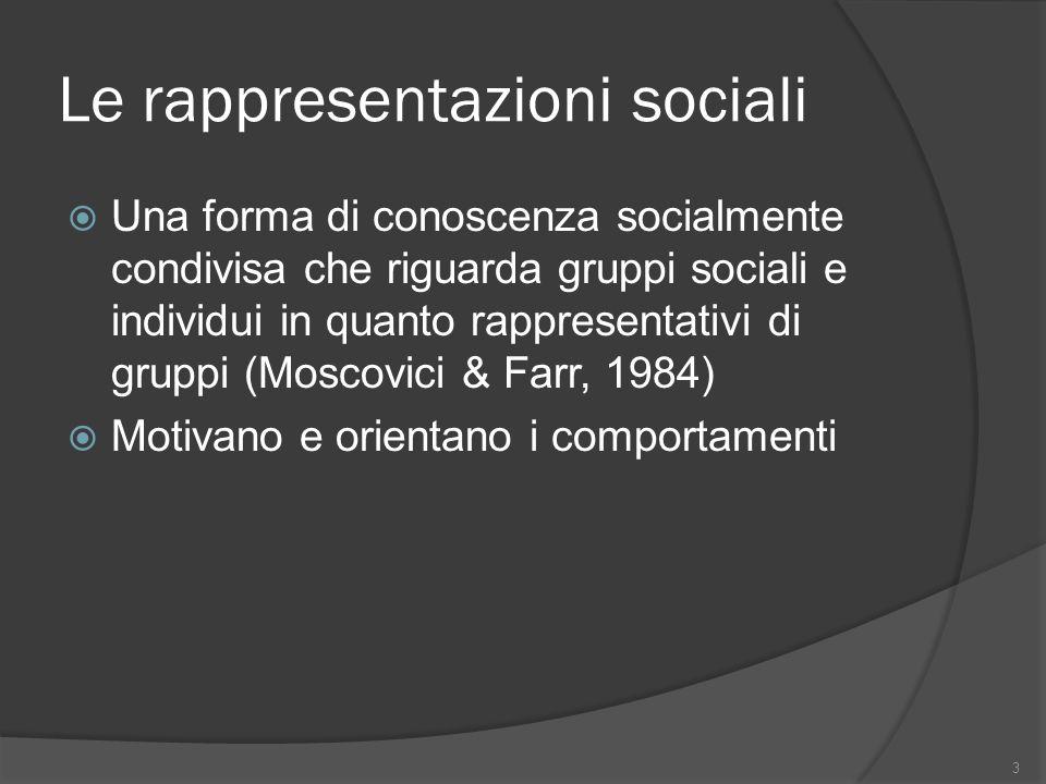 Le rappresentazioni sociali Una forma di conoscenza socialmente condivisa che riguarda gruppi sociali e individui in quanto rappresentativi di gruppi