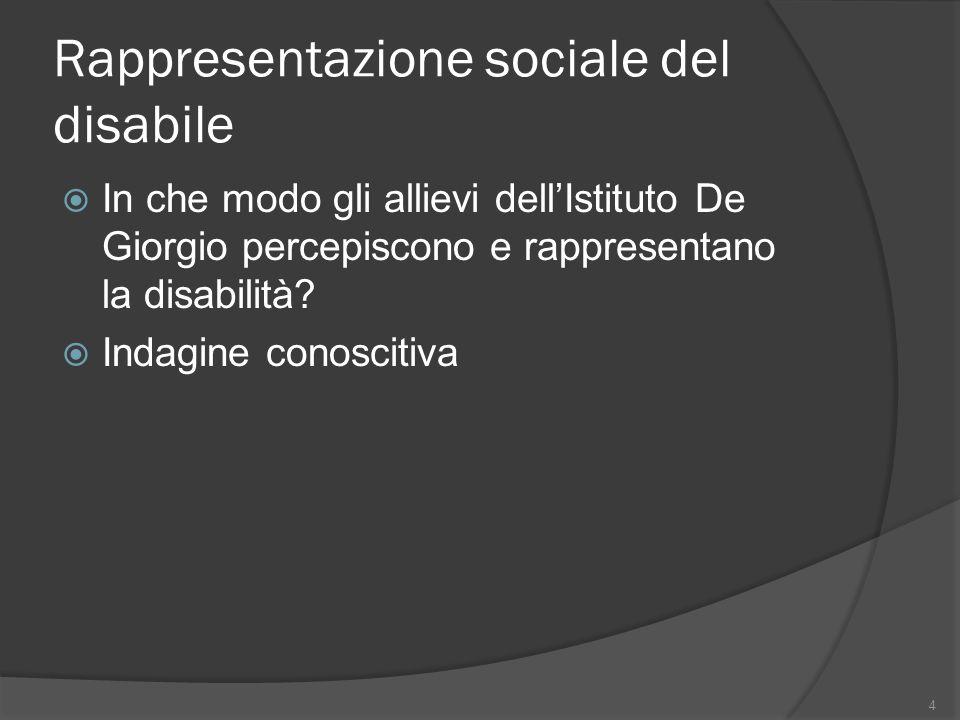 Rappresentazione sociale del disabile In che modo gli allievi dellIstituto De Giorgio percepiscono e rappresentano la disabilità? Indagine conoscitiva