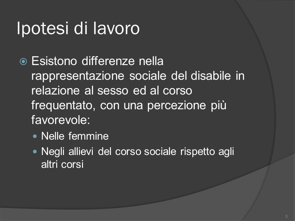 Ipotesi di lavoro Esistono differenze nella rappresentazione sociale del disabile in relazione al sesso ed al corso frequentato, con una percezione pi