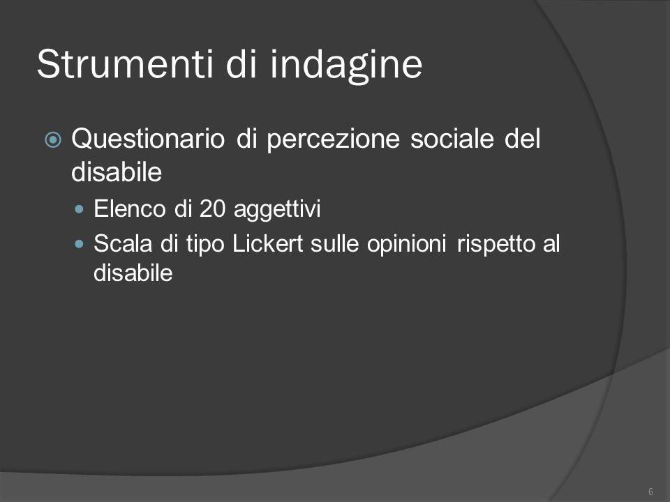 Strumenti di indagine Questionario di percezione sociale del disabile Elenco di 20 aggettivi Scala di tipo Lickert sulle opinioni rispetto al disabile