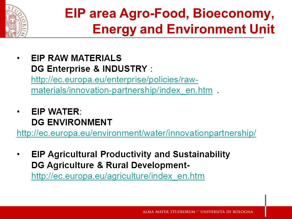 EIP area Agro-Food, Bioeconomy, Energy and Environment Unit EIP RAW MATERIALS DG Enterprise & INDUSTRY : http://ec.europa.eu/enterprise/policies/raw-