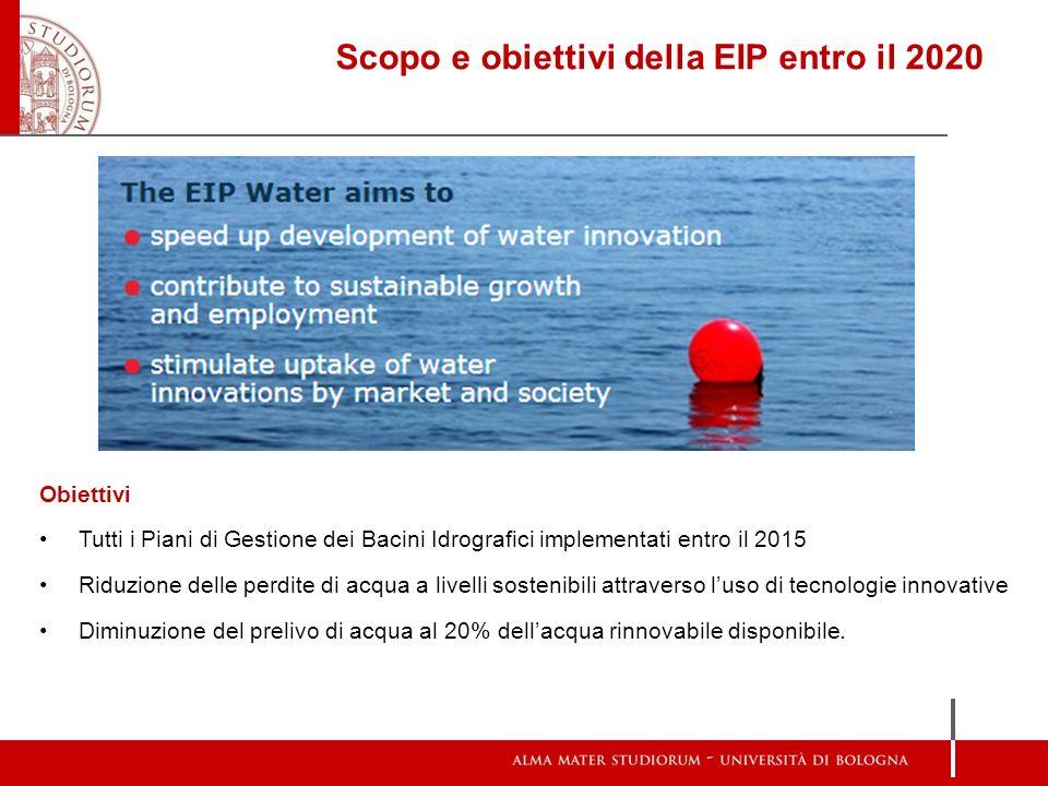 Scopo e obiettivi della EIP entro il 2020 Obiettivi Tutti i Piani di Gestione dei Bacini Idrografici implementati entro il 2015 Riduzione delle perdit