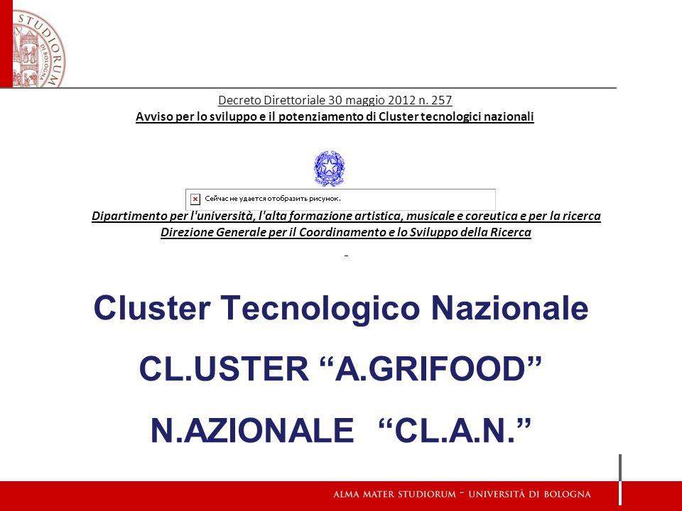 Cluster Tecnologico Nazionale CL.USTER A.GRIFOOD N.AZIONALE CL.A.N. Dipartimento per l'università, l'alta formazione artistica, musicale e coreutica e