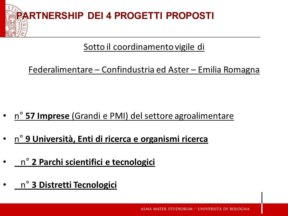 PARTNERSHIP DEI 4 PROGETTI PROPOSTI Sotto il coordinamento vigile di Federalimentare – Confindustria ed Aster – Emilia Romagna n° 57 Imprese (Grandi e